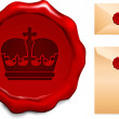 Crown on Wax Seal — Stock Vector #6029838