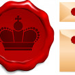 Crown on Wax Seal — Stock Vector