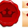 Crown Wax Seal — Stock Vector