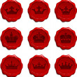 Crown Wax Seal Set - Stock Vector