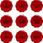 Crown Wax Seal Set — Stock Vector