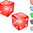 Stock Vector: Red Dice Collection