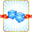 Royalty-Free Stock Vector Image: Blue Dice on Ribbon Background