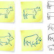 Cow buffalo and bison on post it notes — Stock Vector