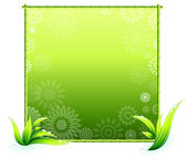 Bamboo border elements on floral pattern — Stock Vector