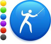 Icono de esgrima en botón redondo de internet — Vector de stock