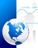 Globo su sfondo grafico — Vettoriale Stock