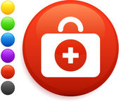 First aid kit icon on round internet button — Stock Vector