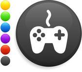 Fjärrkontrollen ikonen på runda internet-knappen — Stockvektor