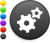 Machine part icon on round internet button — Stock Vector