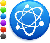 Atom icon on round internet button — Stock Vector