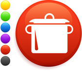 Boiling pot icon on round internet button — Stock Vector