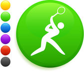 Tennis icon on round internet button — Stock Vector