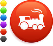 Trem de ícone no botão redondo de internet — Vetor de Stock