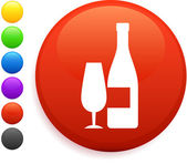 Wine icon on round internet button — Stock Vector