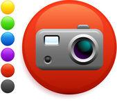 インターネットの丸いボタンでデジタル カメラ ・ アイコン — ストックベクタ