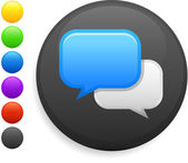 Internet chat icon on round internet button — Vetor de Stock