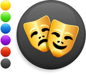 Tragedy and comedy masks icon on round internet button — Stock Vector