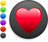 Heart icon on round internet button — Stock Vector