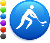 Hockey icon on round internet button — Stock Vector
