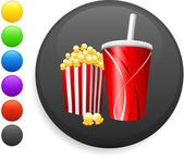 Popcorn and soda icon on round internet button — Stock Vector