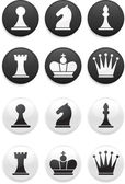 Black and white Chess set on round buttons — Stock Vector