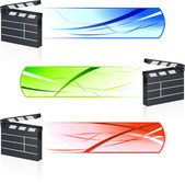 Film Clapper with Banners — Stock Vector