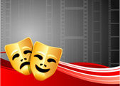 Comedy and Tragedy Masks on Film Reel Background — Stock Vector
