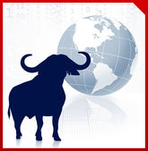 Bull on business background with red border — Stock Vector