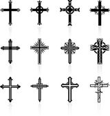 Religieuze cross design collectie — Stockvector