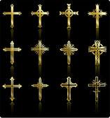 Religious golden cross design collection — Stock Vector