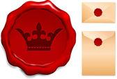 Corona en sello de cera — Vector de stock