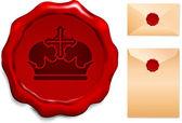 ワックスのシールの王冠 — ストックベクタ
