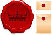 Corona sul sigillo di cera — Vettoriale Stock