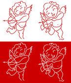 Cupid Angel Valentine's Day design background — Stock Vector