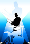 Drums players under the bright lights — Stock Vector