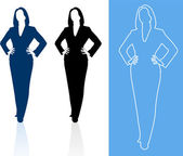 Young business woman silhouettes — Stock Vector