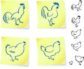 Rooster and chickens on post it notes — Stock Vector