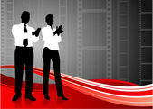 Business team clapping on film reel background — Stock Vector
