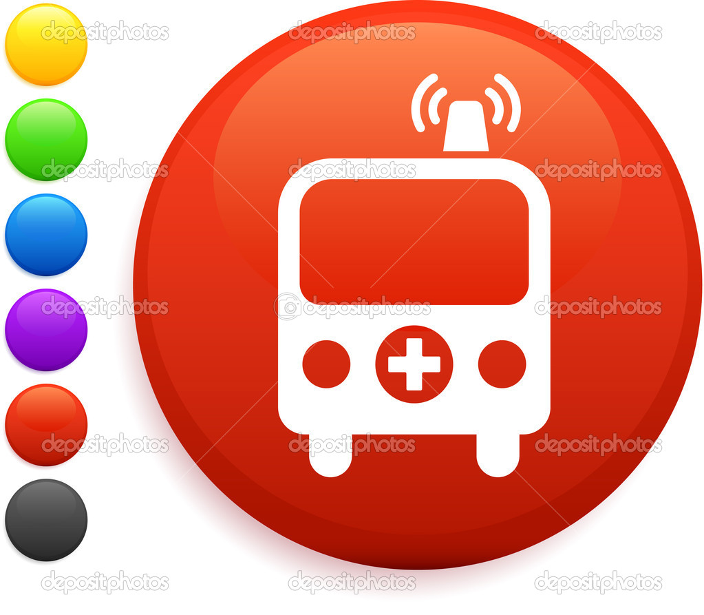 Ambulance icon on round internet buttonoriginal vector illustration6 color versions included  Stock Vector #6029146