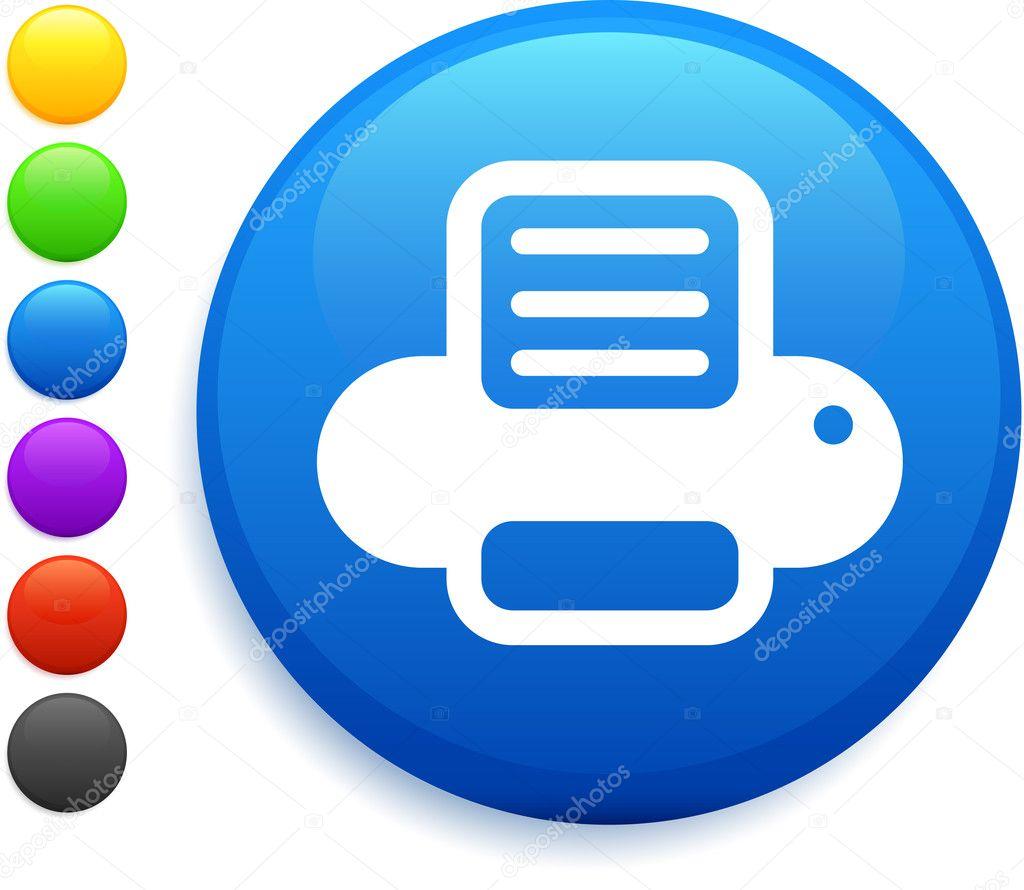 Color Printer Icon Printer icon on round internet