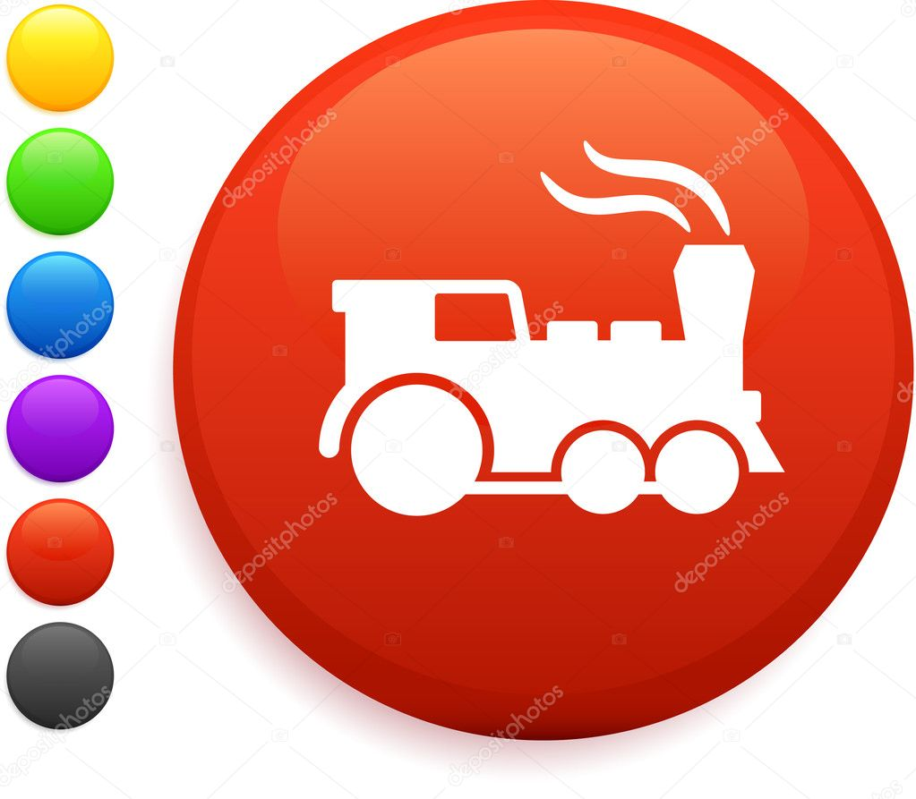 Train icon on round internet buttonoriginal vector illustration6 color versions included  Stock Vector #6029383