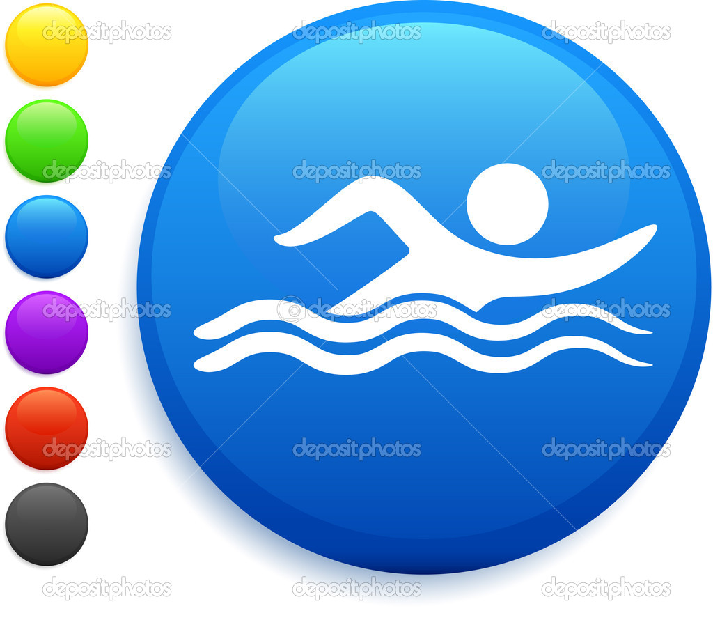 Swimming Symbol Swimming icon on round