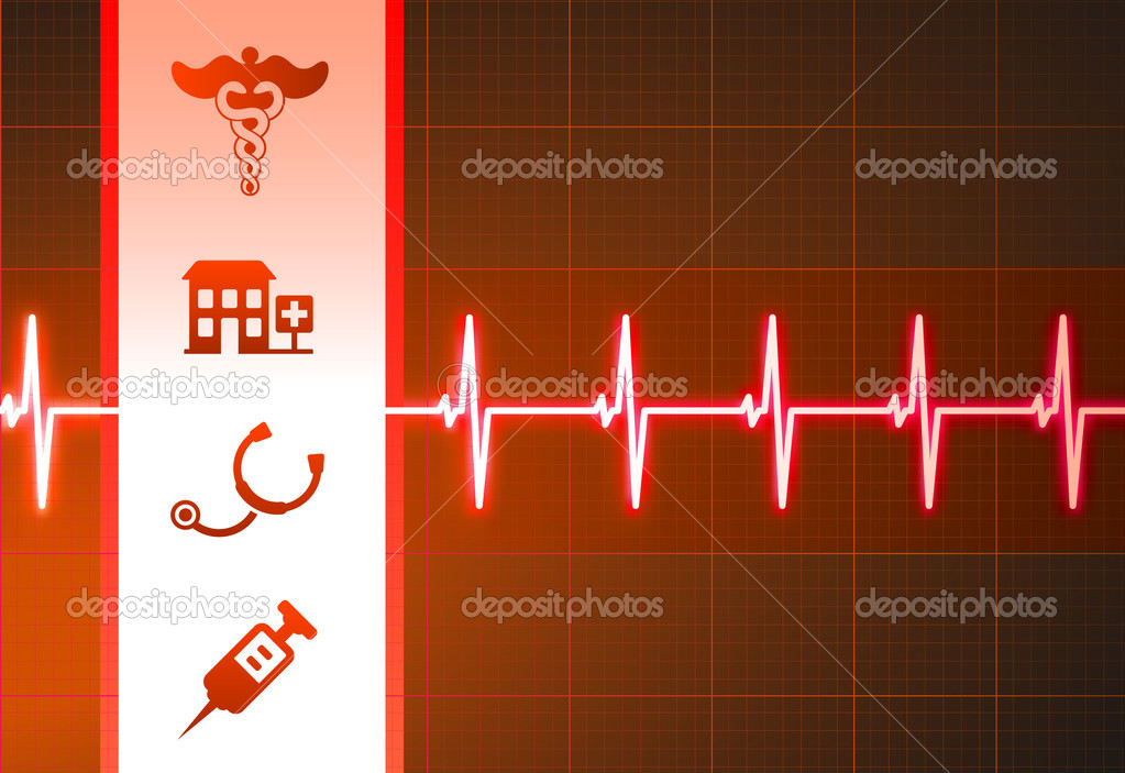 Medical Icons on Heart Rate Pulse BackgroundOriginal Vector Illustration — Stock Vector #6029643