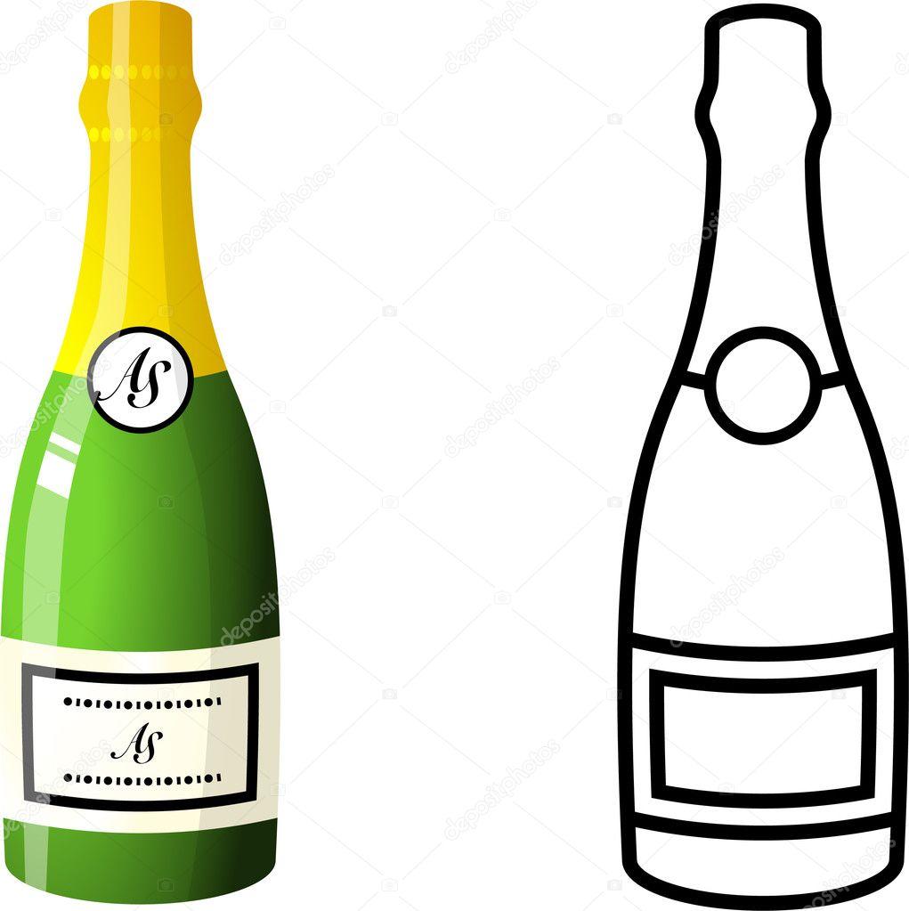 Раскраска бутылка шампанского