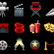 Film and movies industry icon collection - Stok Vektör