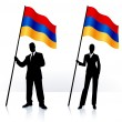 Business silhouettes with waving flag of Armenia - Stock Vector