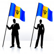 Business silhouettes with waving flag of Barbados — Stock Vector