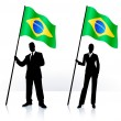 Business silhouettes with waving flag of Brazil — Stock Vector #6030050