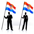Royalty-Free Stock ベクターイメージ: Business silhouettes with waving flag of Croatia